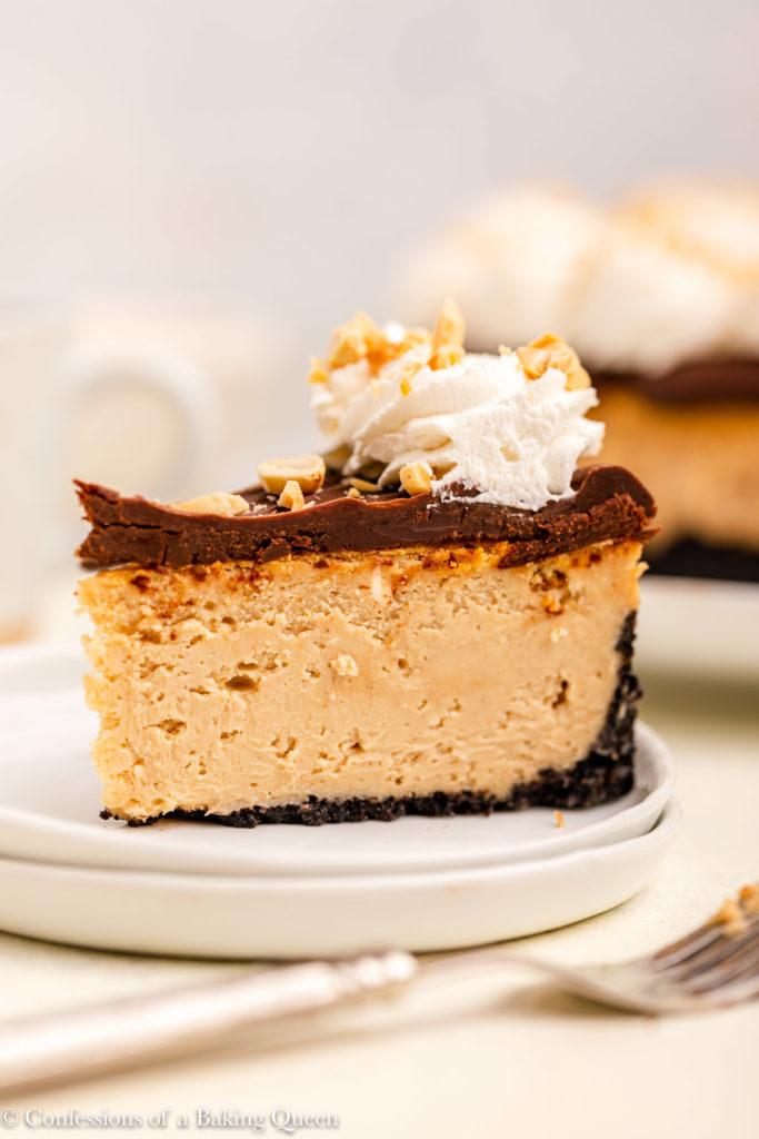 slice of chocolate peanut butter cheesecake on a white plate