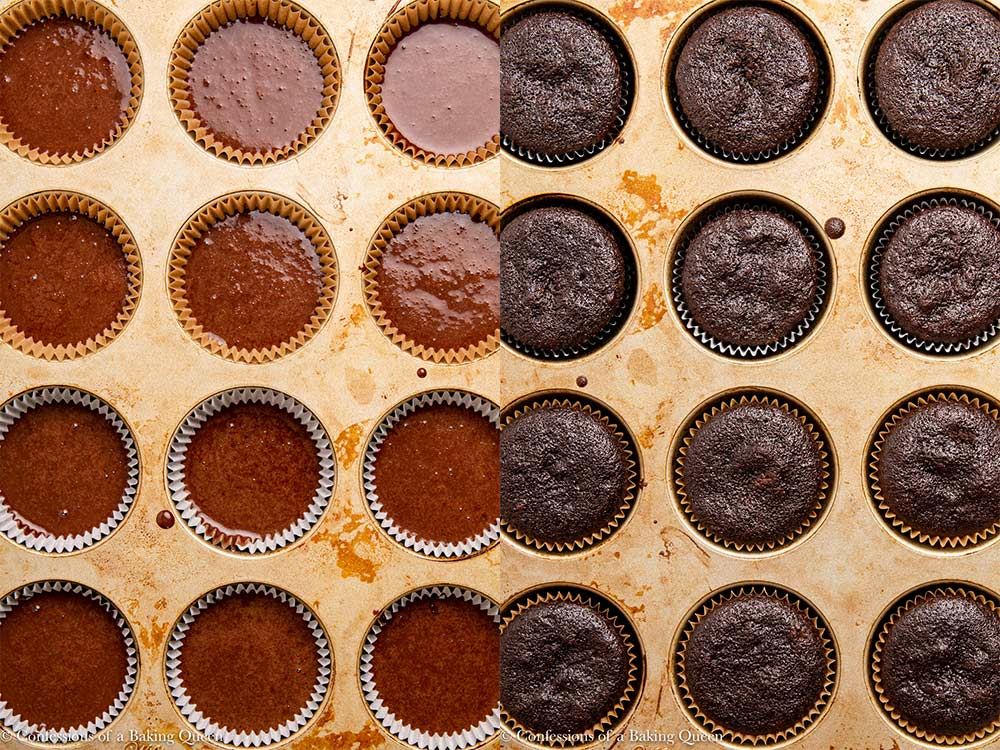 unbaked and baked chocolate guinness cupcakes