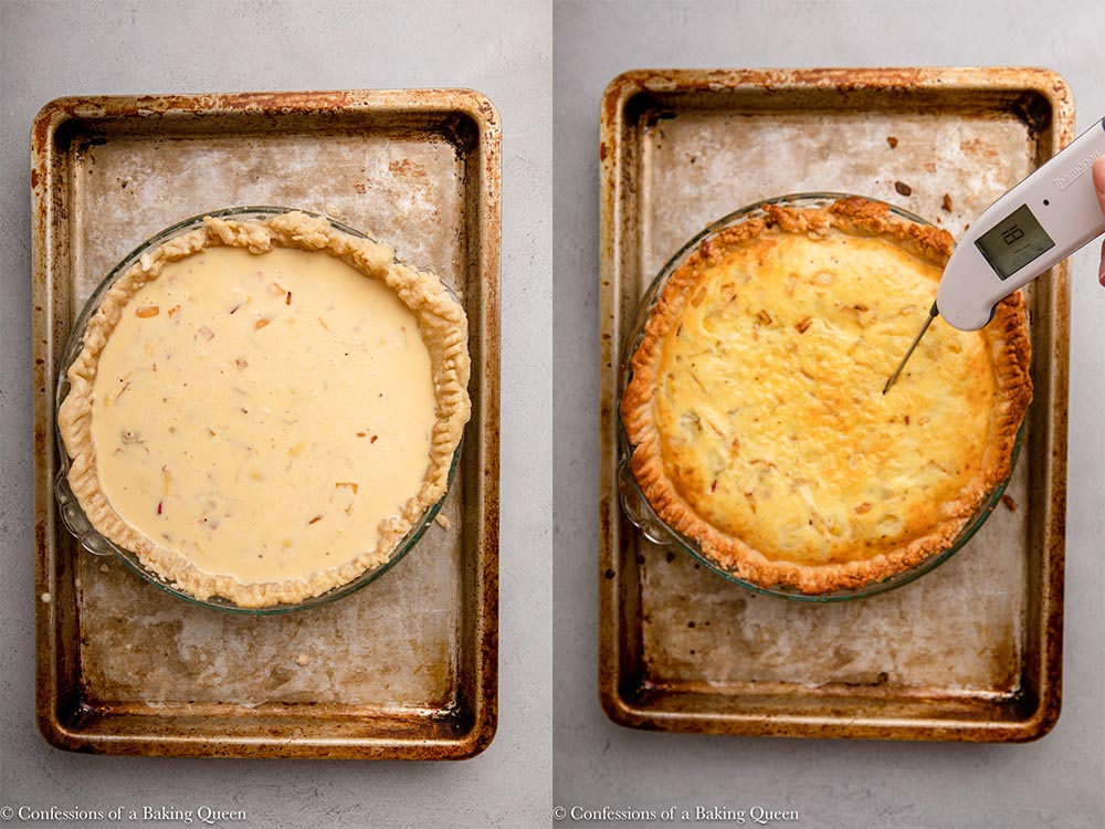 vegetarian quiche before and after baking
