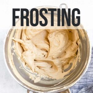 coffee frosting in a metal bowl