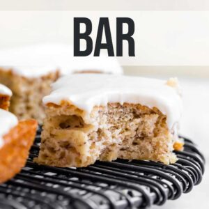 banana bread bars on a wire rack