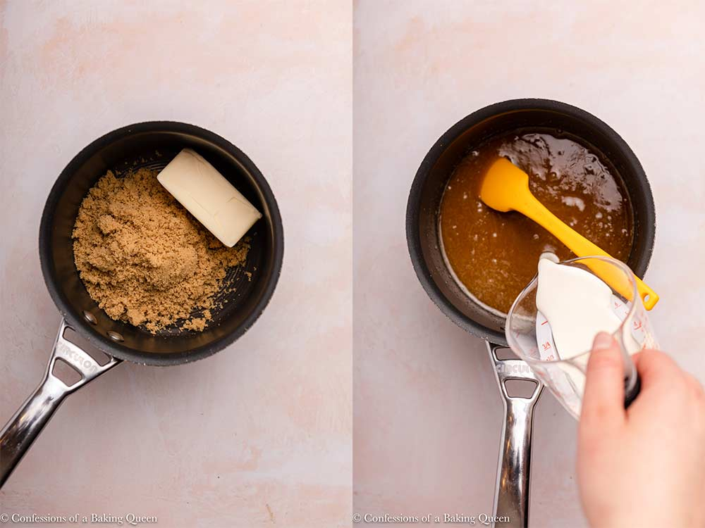 butter and brown sugar cooked together in a small pot and heavy cream poured in