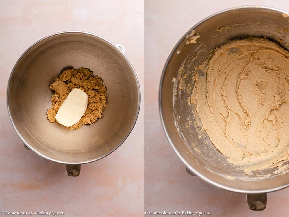 butter and brown sugar mixed together in a metal bowl