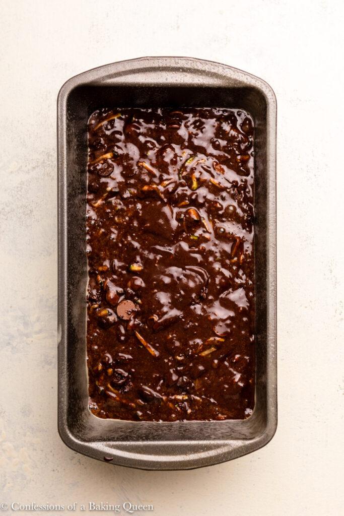 chocolate zucchini bread before baking