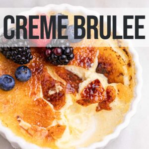 creme brulee cracked open with fresh berries