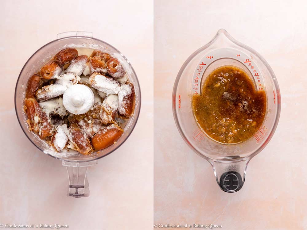 dates mixed with water and baking soda into a thick mixture