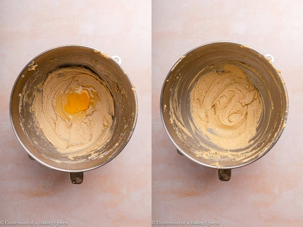 egg added to butter and sugar in a metal bowl