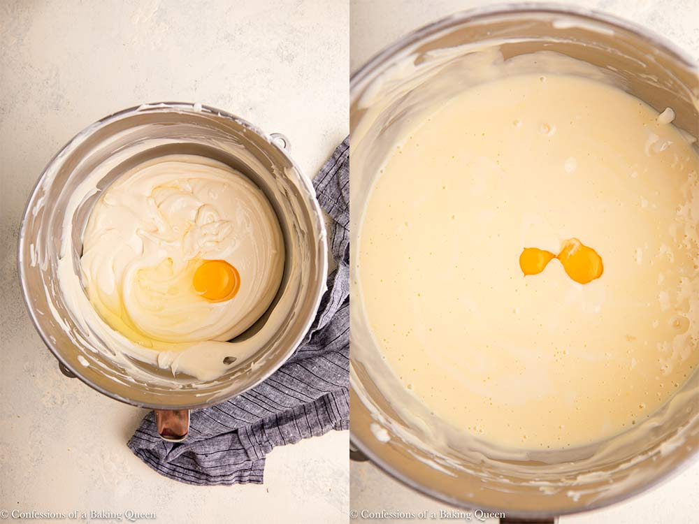 egg added to cheesecake batter