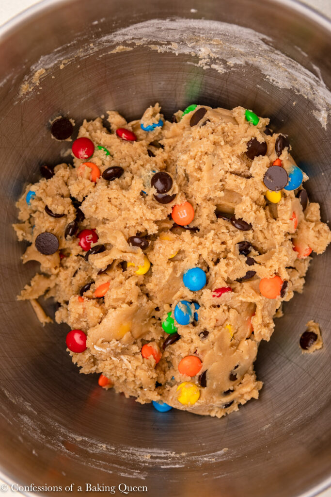 m&ms cookie dough in a metal bowl