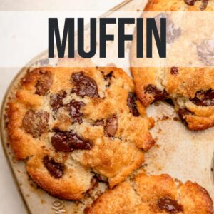 chocolate chip muffins in a muffin tin