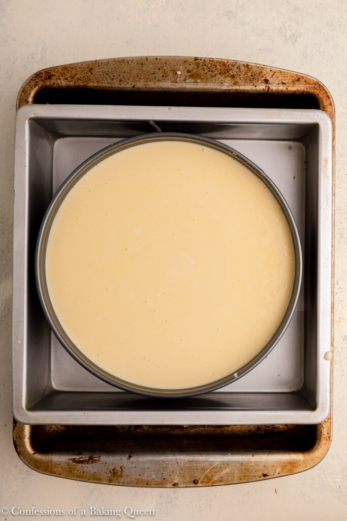 new york cheesecake before baking