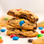 three m&m cookies stacked on top of each other