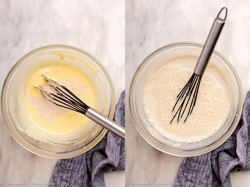 warm cream added to egg mixture for pastry cream recipe