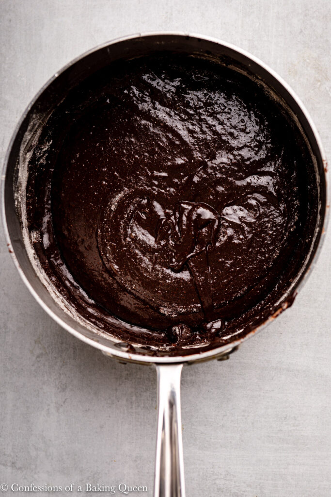 brownie batter in a large pot