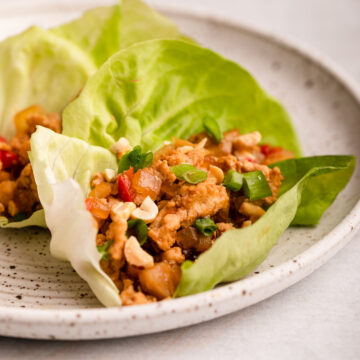 close up of chicken lettuce cups on a white and brown speckled plate on a grey surface