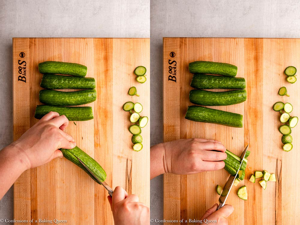 hand holding a knife cutting cucumbers on a wood cutting board