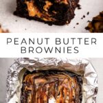 peanut butter brownies on a grey surface and peanut butter swirled into brownies peanut butter swirled into brownies