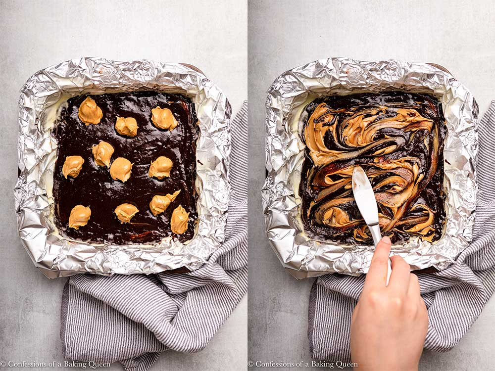 peanut butter swirled into brownies