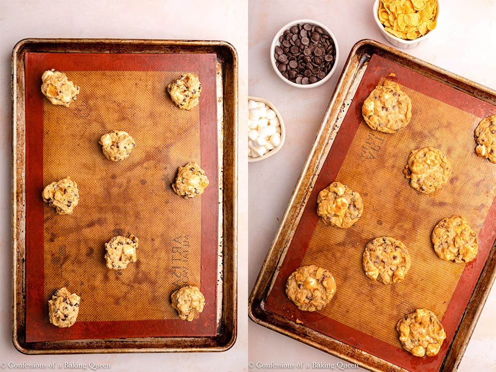cornflake marshmallow cookies lined on a silpat lined baking sheet before and after baking on a pink surface