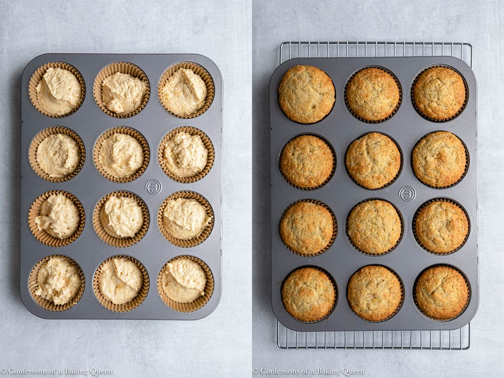 banana cupcakes before and after baking in a metal cupcake pan on a grey surface