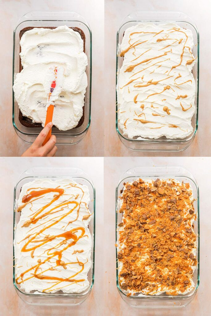 butterfinger cake decorating steps with whipped cream, peanut butter, caramel and crushed butterfingers in a glass dish on a pink surface