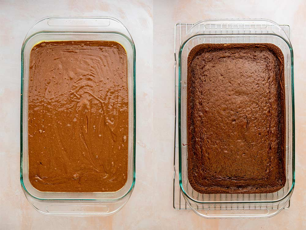chocolate cake in a glass baking dish before and after baking on a pink surface