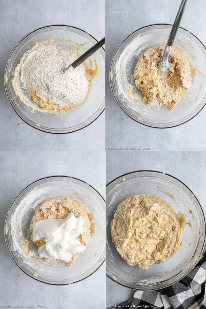dry ingredients added to wet ingredients then whipped egg whites added to banana cupcake batter in a glass bowl on a grey surface