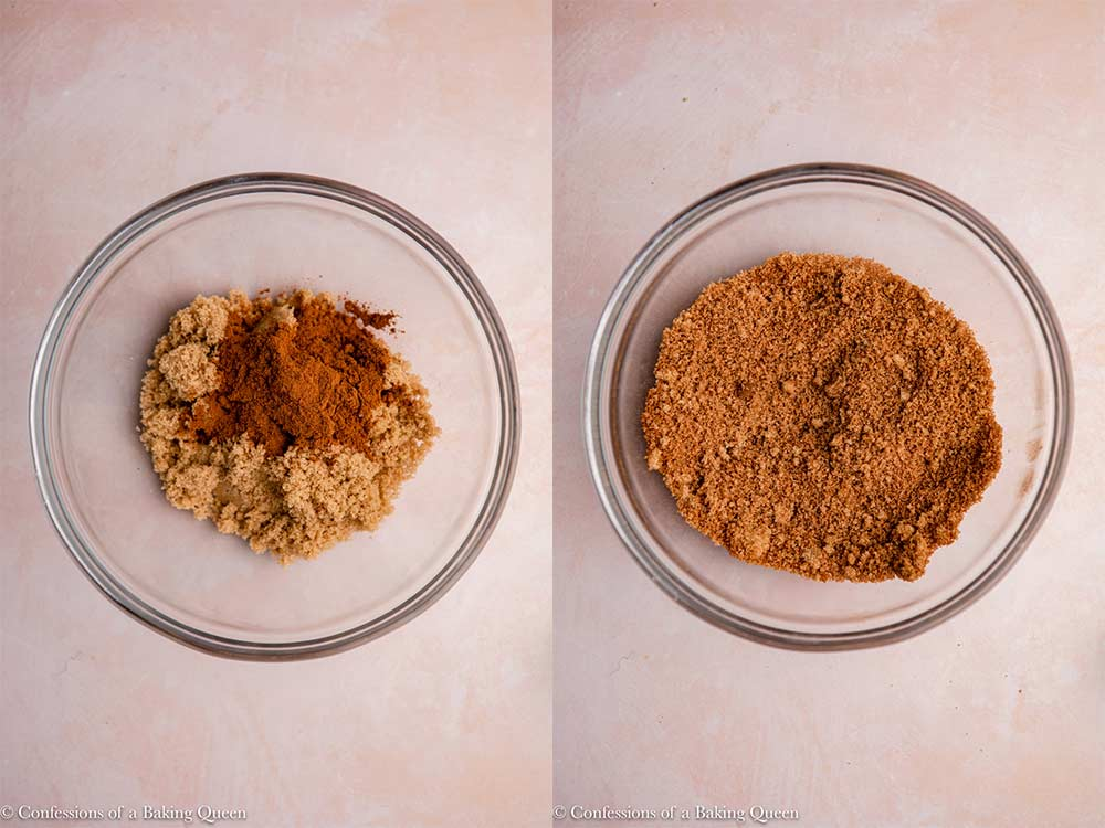 ground cinnamon and brown sugar mixed together in a glass bowl on a pink surface