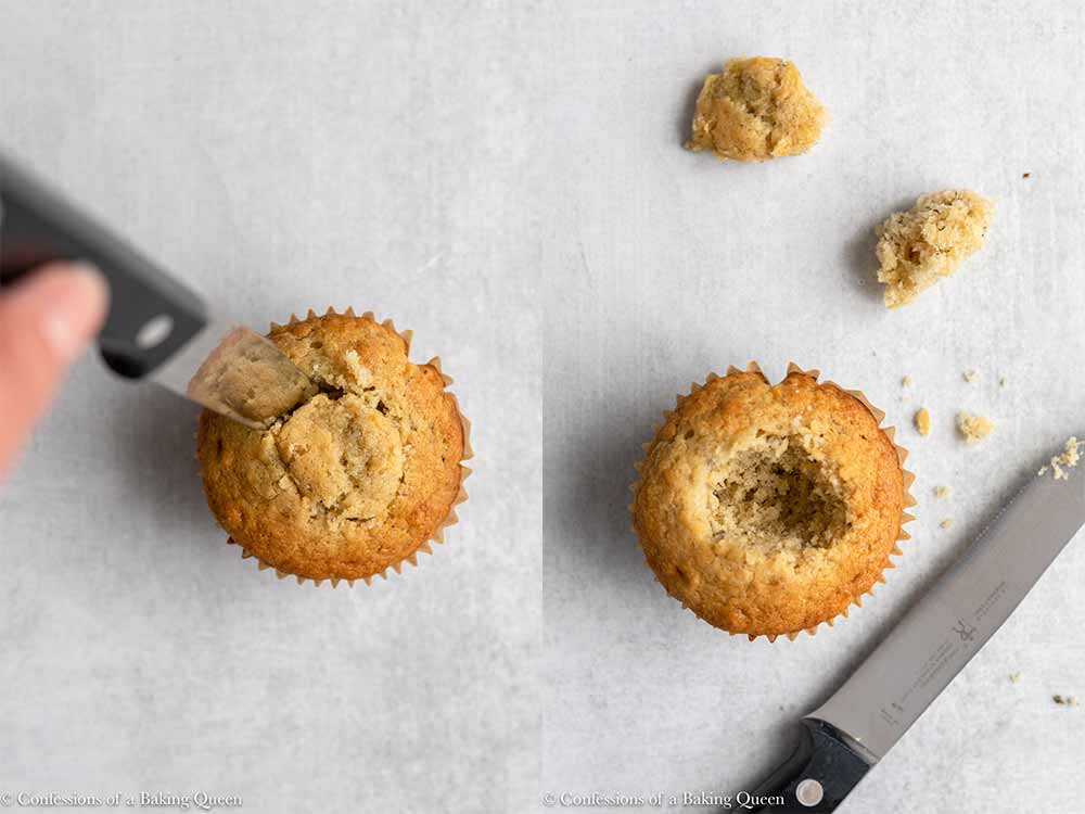 knife taking a hole out of a banana cupcake on a grey surface