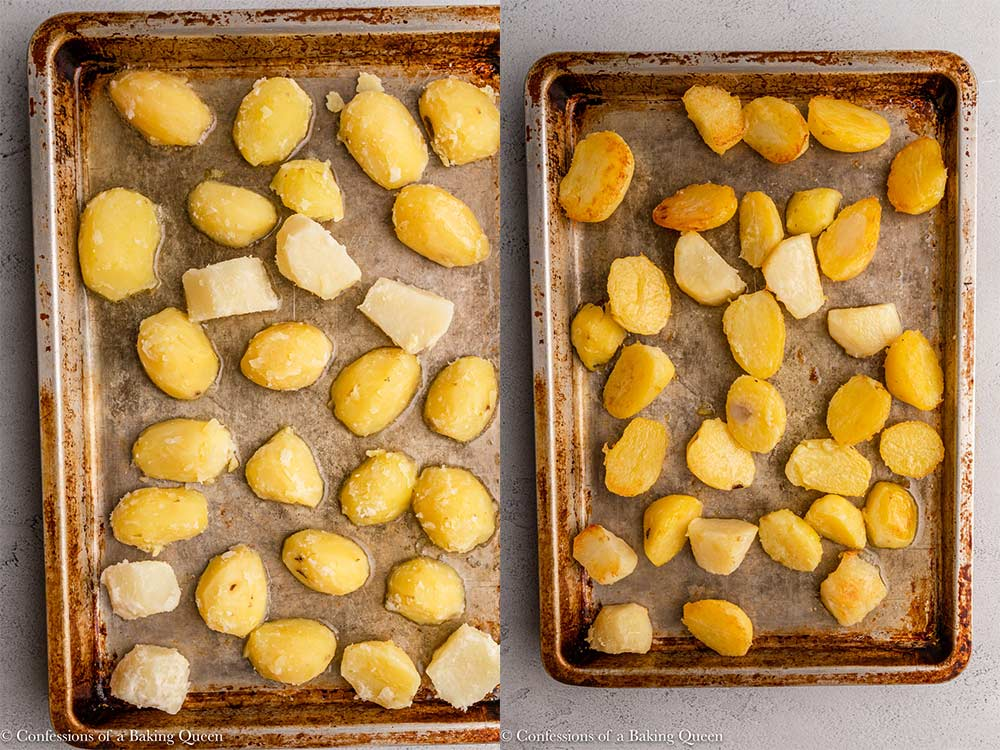 potatoes in oil on a metal sheet pan cooking on a grey surface