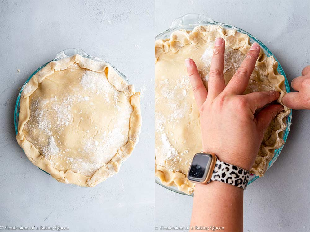 blueberry pie top crust put on and crimped with two fingers on a grey surface