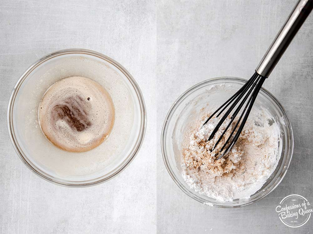 brown butter in a glass bowl mixed with powdered sugar using a whisk sitting on a grey surface