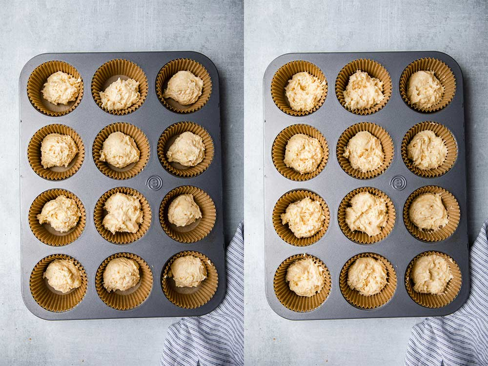 coffee cake batter added to a muffin tin and pressed down on a grey surface with a white and blue linen