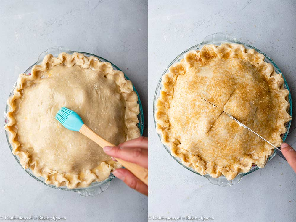 hand brushing egg wash on top of pie crust then sprinkled with sugar and a knife cutting steam slits on the top