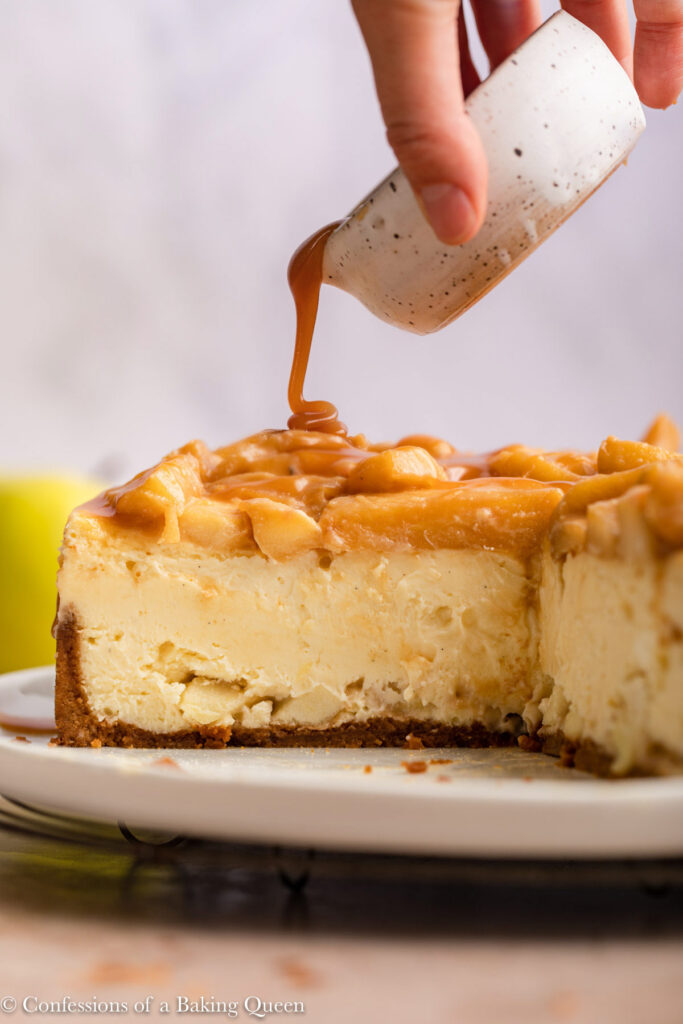 caramel dripping on to caramel apple cheesecake