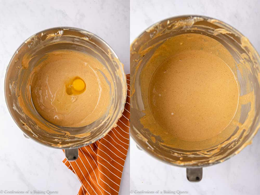 eggs added one at a time to pumpkin cheesecake batter in a metal bowl on a white counter