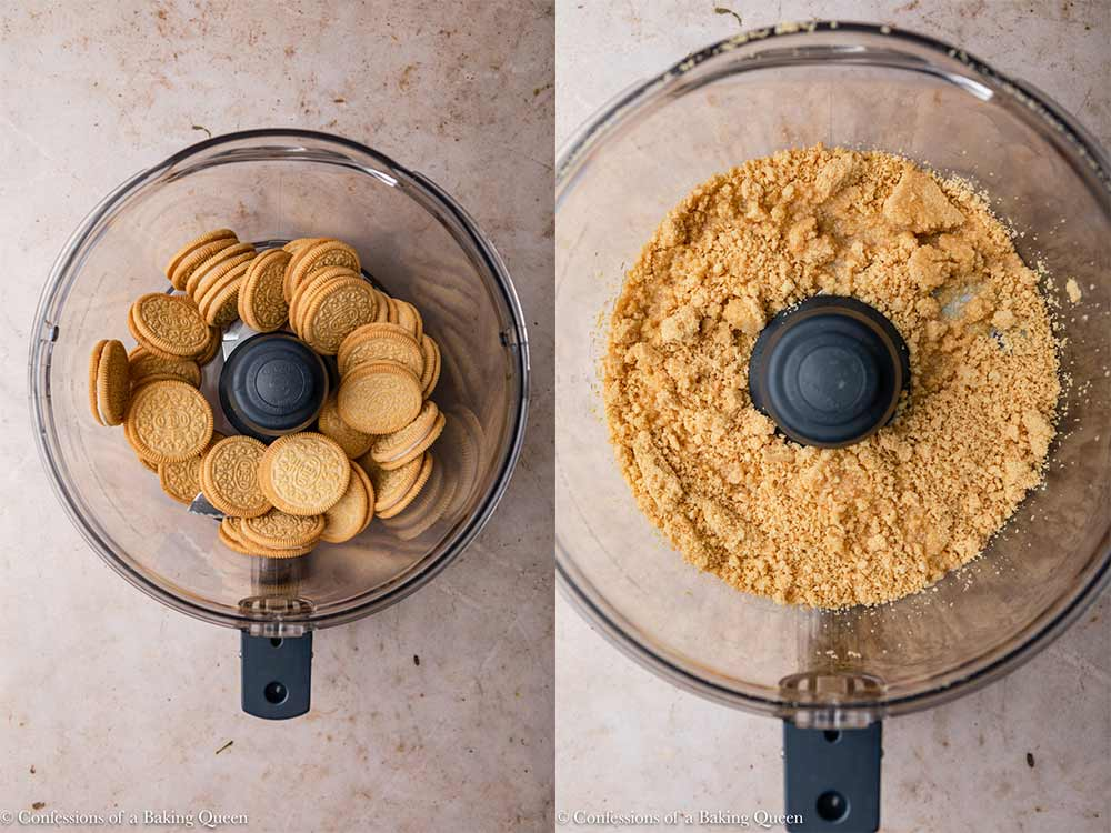 golden oreos curshed into crumbs in a food processor then melted better poured on topon a light brown surface