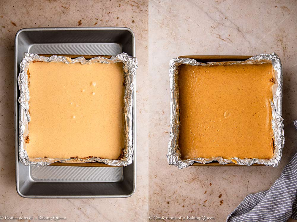 pumpkin cheesecake bars before baking sitting in a water bath and afterbaking on a light brown surface