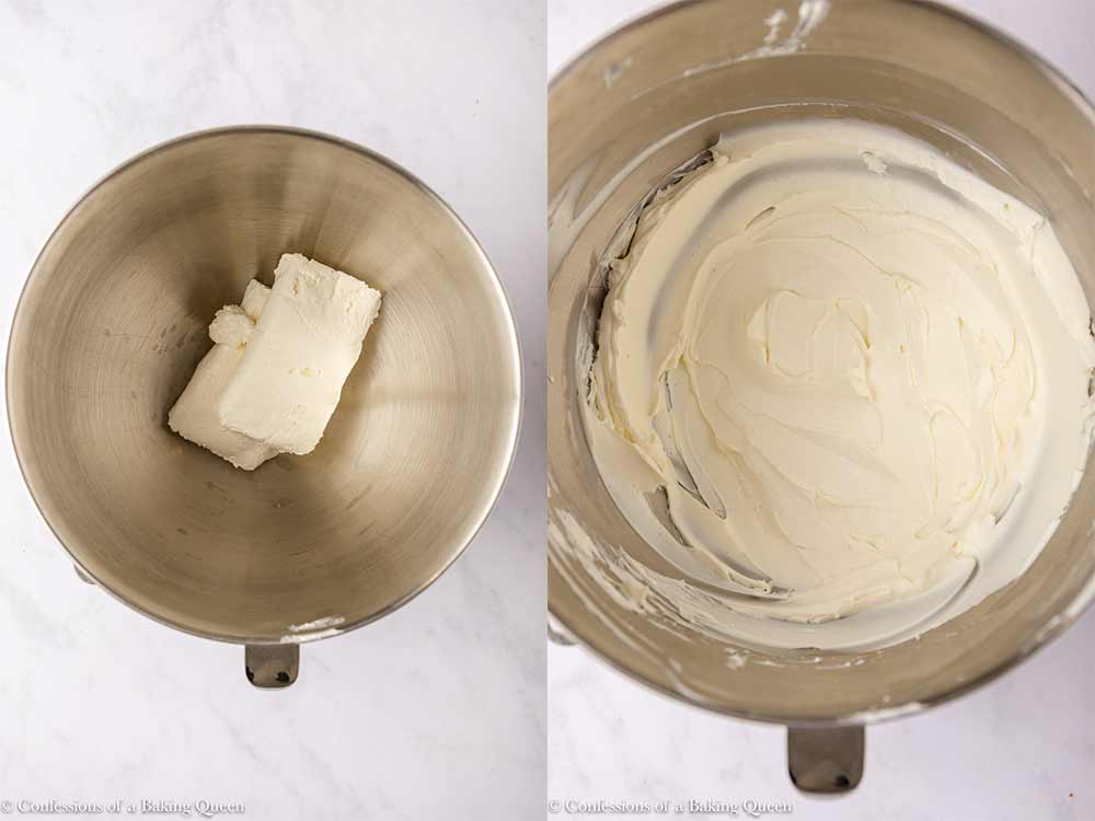two blocks of cream cheese mixed in a metal bowl to a smooth and creamy mixture sitting on a white counter