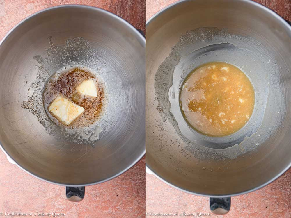 brown butter and regular butter in a metal bowl on a reddish brown surface