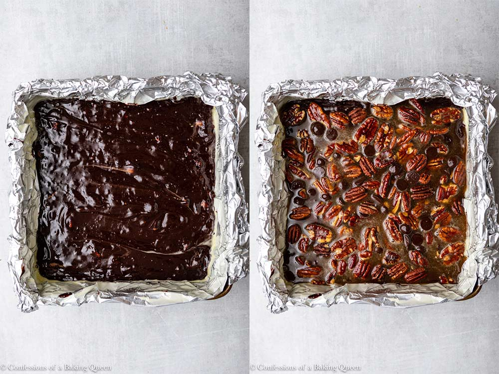 brownie batter in a foil lined pan with pecan pie filling added on top sitting on a light grey surface