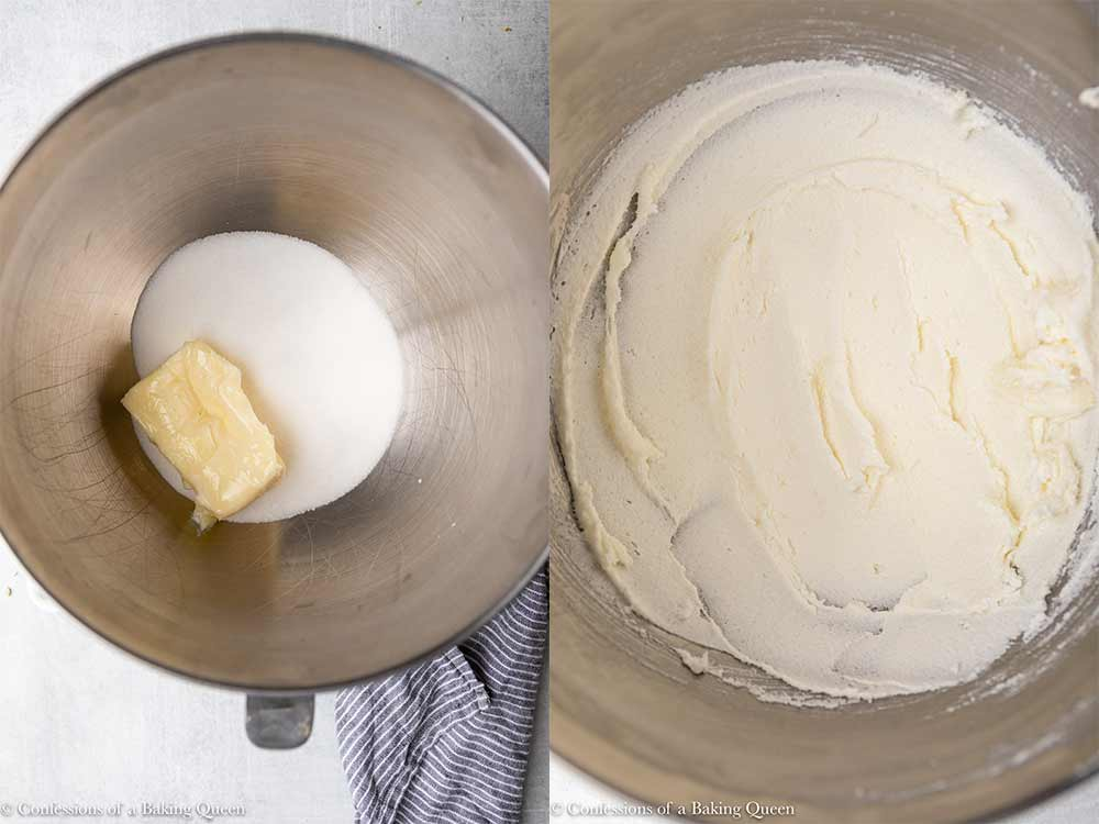 butter and sugar mixed together in a mixing bowl until light and fluffy sitting on a light grey surface with a blue linen