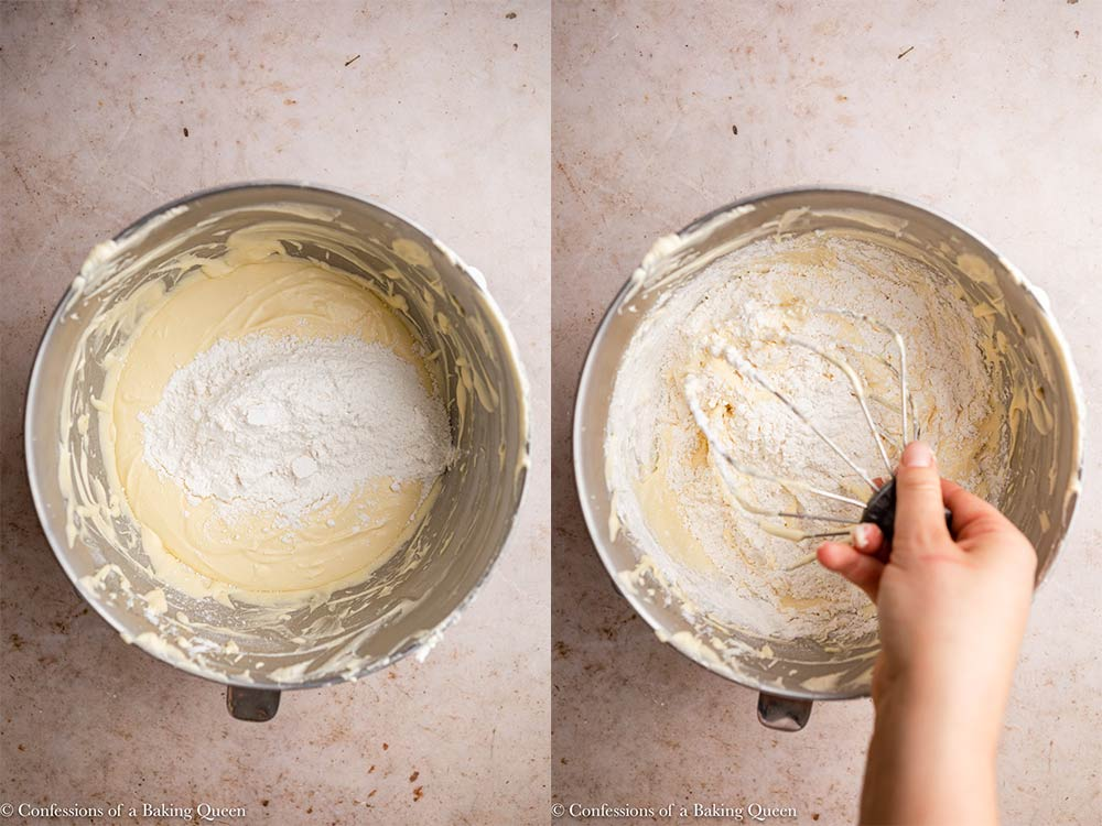 dry ingredients added to cake batter and mixed in with a large whisk on a light brown surface