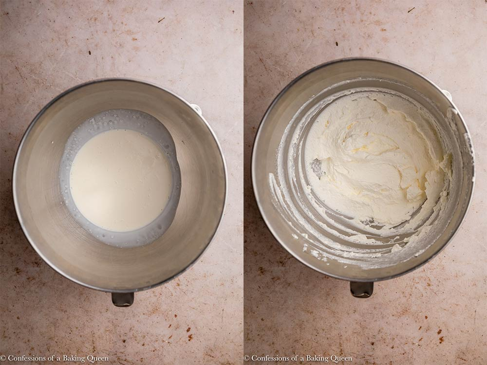 heavy whipping cream in a metal bowl whipped to stiff peaks on a light brown surface