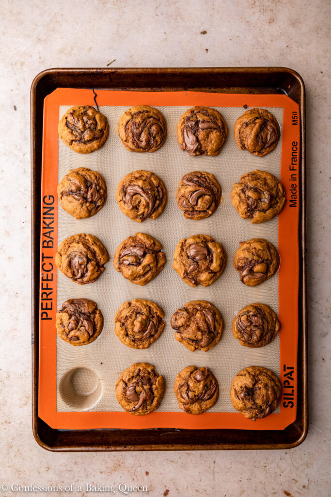 nutella swirled pumpkin muffins after baking