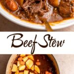 dutch oven beef stew in a white bowl on a light brown surface