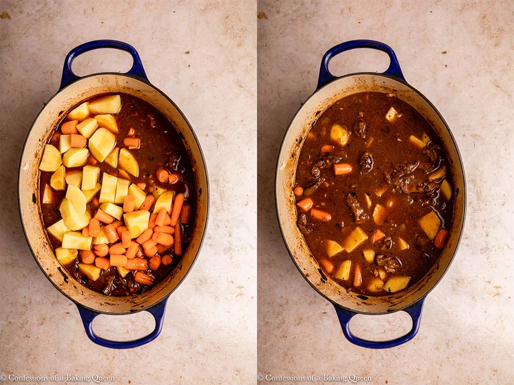carrots and potatoes added to beef stew in dutch oven
