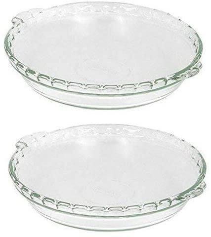 two glass pie dishes