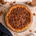 pecan pie on a brown background with a cup of coffee, blue linen, bowl of brown sugar