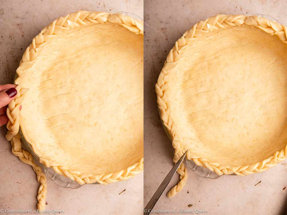 braided pie dough crust pieces placed on a pie dough on a light brown surface